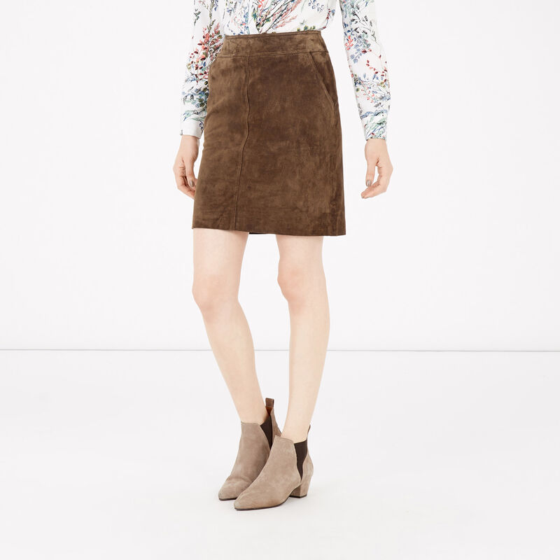 Warehouse, Suede Skirt Brown 1