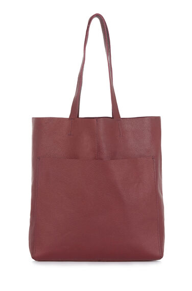 Warehouse, LEATHER POCKET SHOPPER BAG Berry 0