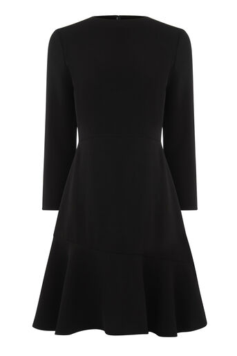 Warehouse, PEPLUM HEM LONG SLEEVE DRESS Black 0