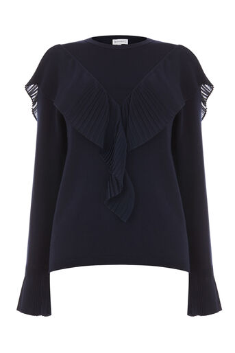 Warehouse, WOVEN PLEAT FRONT JUMPER Navy 0