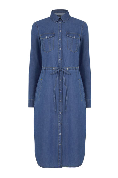 Warehouse, Curved Hem Tie Detail Dress Mid Wash Denim 0