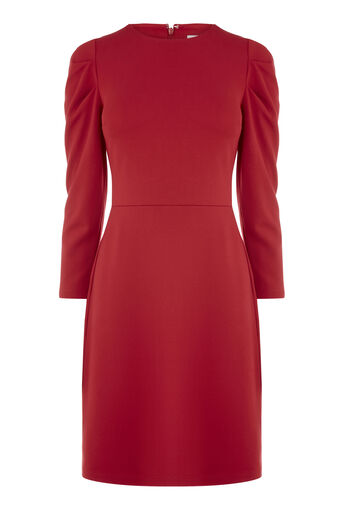 Warehouse, PUFF SLEEVE PONTE DRESS Bright Red 0