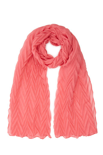 Warehouse, ZIG ZAG PLEATED SCARF Light Pink 0