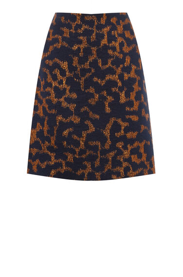 Warehouse, CAMO ANIMAL JACQUARD SKIRT Navy 0