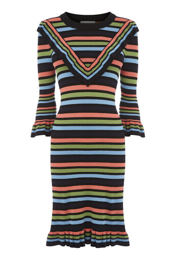 Warehouse, STRIPE FRILL DRESS Multi 0