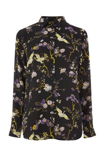 Warehouse, FLORAL BIRD PRINT SHIRT Black Pattern 0