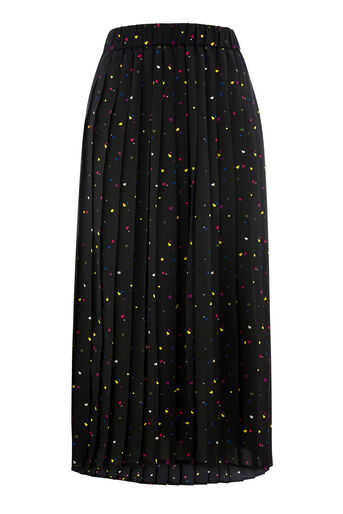 Warehouse, HEART PRINT PLEATED SKIRT Black Pattern 0
