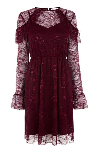 Warehouse, CHANTILLY LACE DRESS Dark Red 0