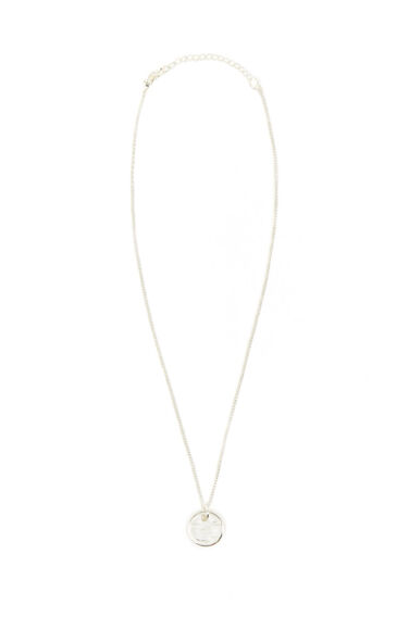 Warehouse, Ditsy Hammered Disc Necklace Silver Colour 0