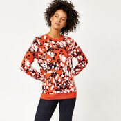 Warehouse, ANIMAL STAMP JACQUARD JUMPER Red Pattern 4