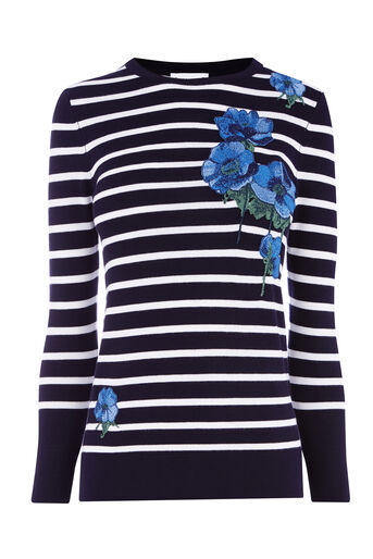 Warehouse, STRIPE CELIA FLORAL JUMPER Navy 0