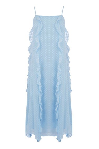 Warehouse, RUFFLE SPOT MIDI DRESS Light Blue 0