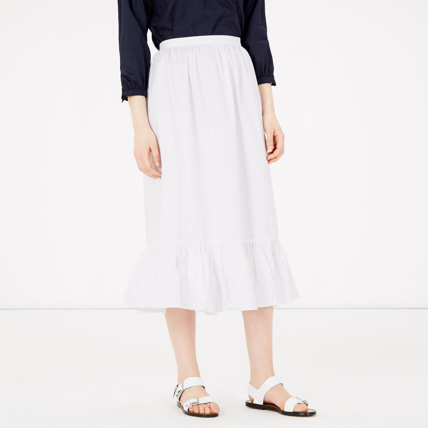 Warehouse, Tiered Midi Skirt White 1