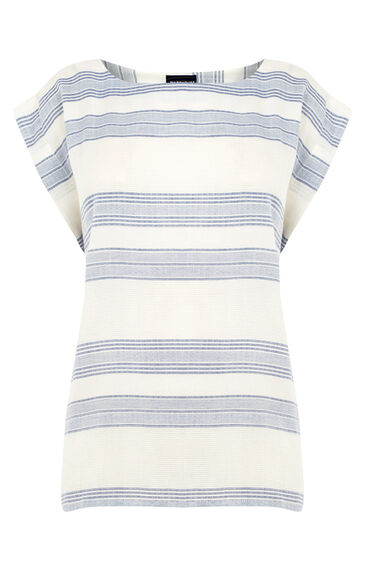 Warehouse, Textured Stripe T-Shirt Neutral Stripe 0