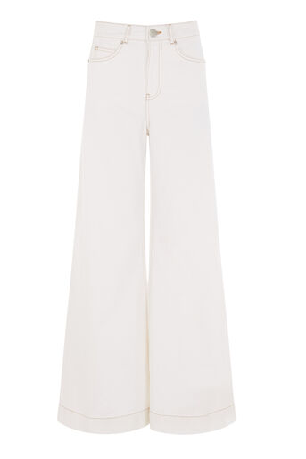 Warehouse, Super Wide Cut Jeans White 0