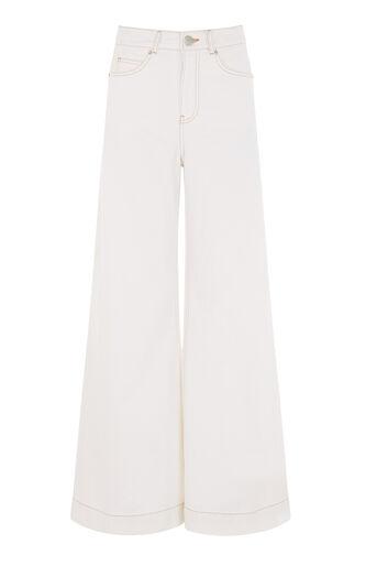 Warehouse, Superwijde jeans Wit 0