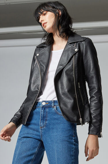 Warehouse, Faux Leather Biker Jacket Black 0