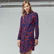 Warehouse, ROPE PRINT SHIRT DRESS Navy 1