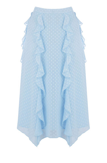 Warehouse, RUFFLE SPOT MIDI SKIRT Light Blue 0