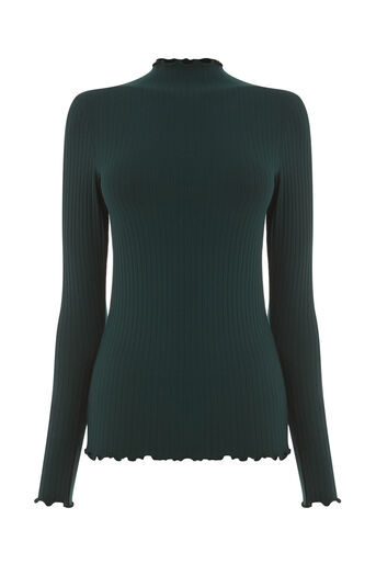 Warehouse, LONG SLEEVE RIB POLO TOP Dark Green 0