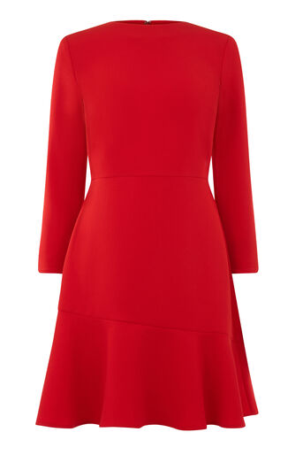 Warehouse, PEPLUM HEM LONG SLEEVE DRESS Bright Red 0
