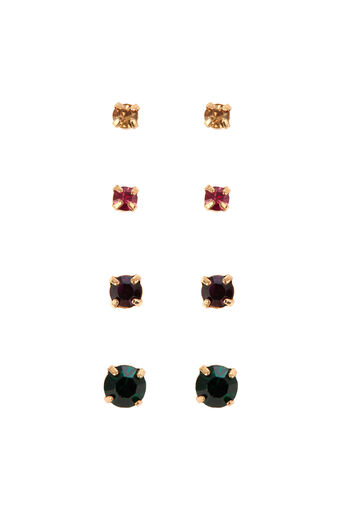 Warehouse, RAINBOW STONE STUD EARRING 4PK Gold Colour 0