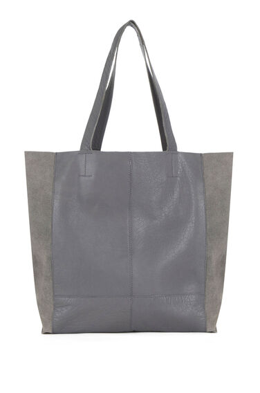 Warehouse, Leather Unlined Shopper Bag Light Grey 0