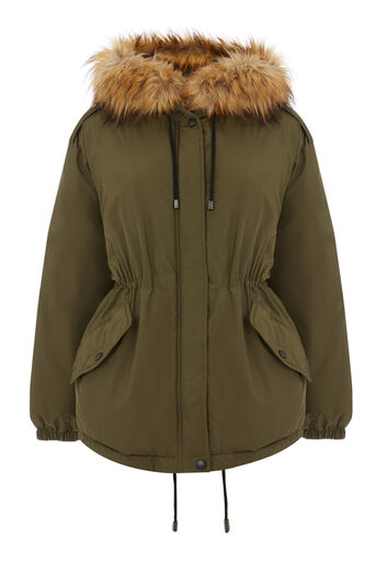 Warehouse, Short Drawstring Parka Khaki 0