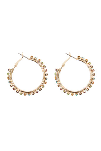 Warehouse, RAINBOW STONE MEDIUM HOOP Gold Colour 0