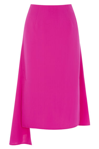 Warehouse, ASYMMETRIC SKIRT Bright Pink 0