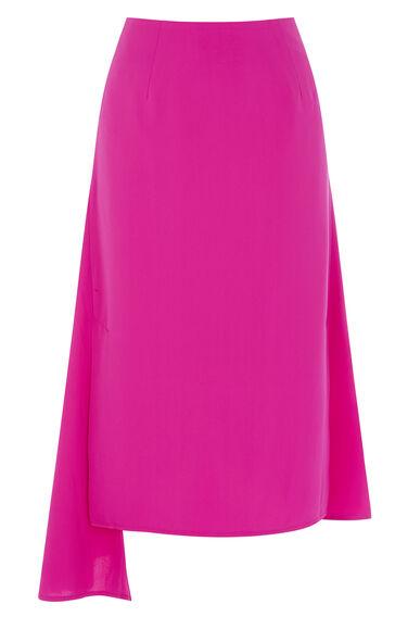 Warehouse, ASYMMETRIC SKIRT Bright Pink 0