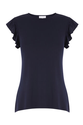 Warehouse, CUT OUT BACK FRILL TOP Navy 0