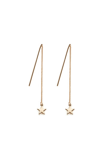 Warehouse, CHAIN DROP STAR EARRINGS Gold Colour 0