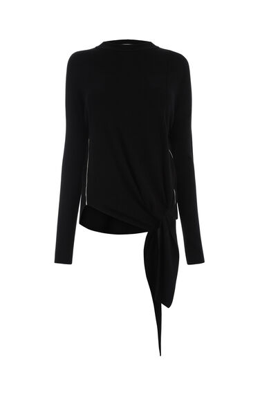 Warehouse, TIE FRONT CREW JUMPER Black 0
