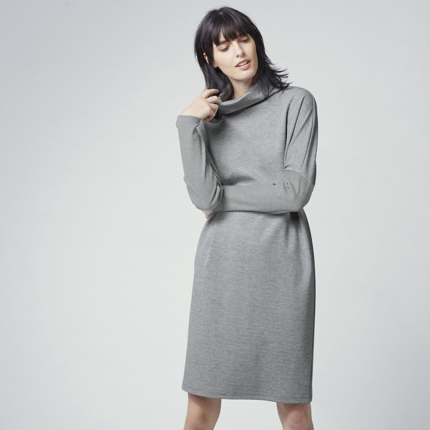 Warehouse, RIB DETAIL ROLL NECK DRESS Dark Grey 1