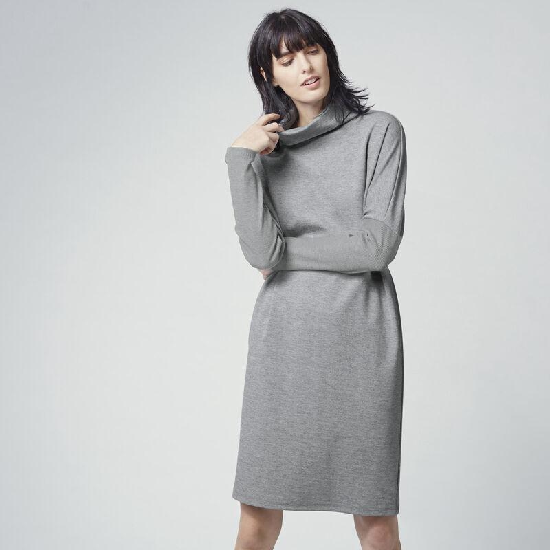 Warehouse, RIB DETAIL ROLL NECK DRESS Dark Grey 1