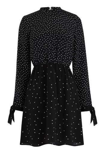 Warehouse, MIXED SPOT PRINT DRESS Black Pattern 0