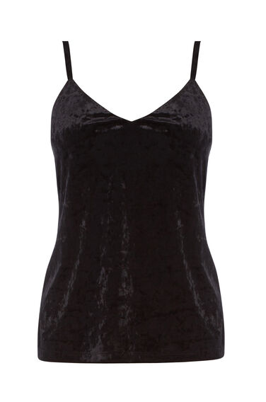 Warehouse, CRUSHED VELVET CAMI Black 0