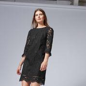 Warehouse, BONDED LACE LONG SLEEVE DRESS Black 1