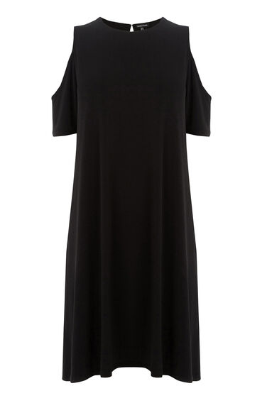 Warehouse, COLD SHOULDER DRESS Black 0