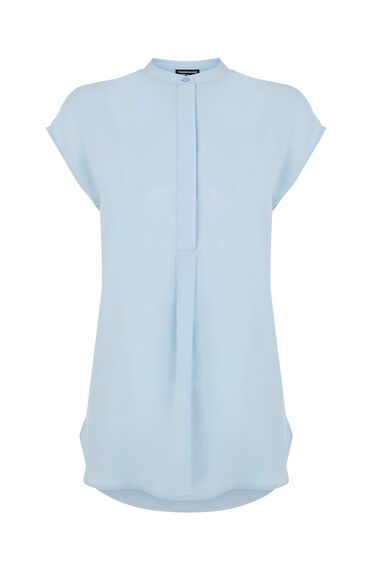Warehouse, SLEEVELESS PLEAT BACK BLOUSE Light Blue 0