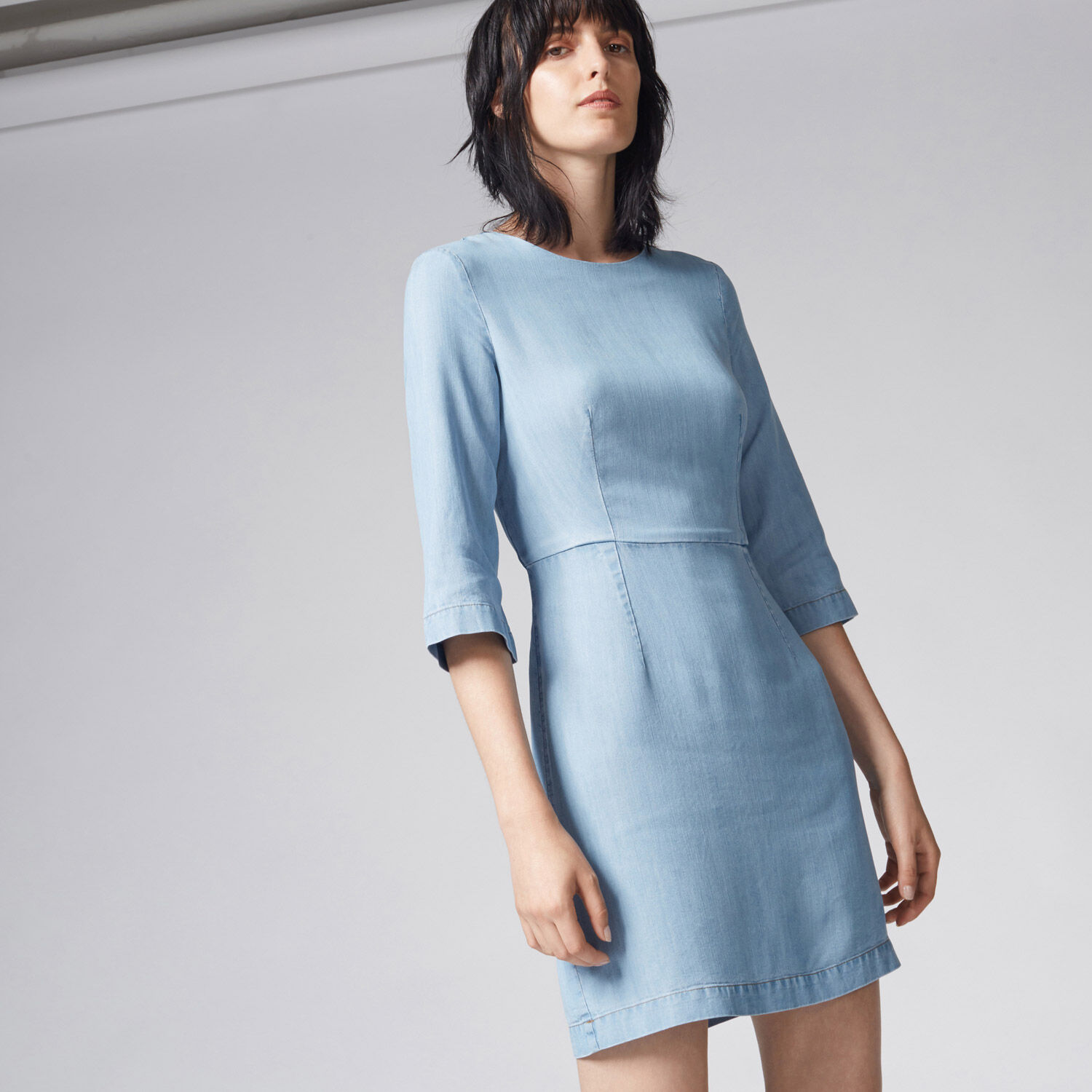 Warehouse, CLEAN FIT AND FLARE DRESS Light Wash Denim 1