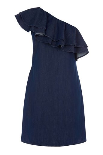 Warehouse, One Shoulder Ruffle Dress Mid Wash Denim 0