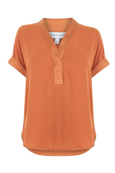 Warehouse, SATIN MIX BLOUSE Orange 0