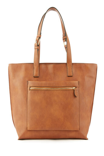 Warehouse, DOUBLE ZIP POCKETSHOPPER BAG Tan 0