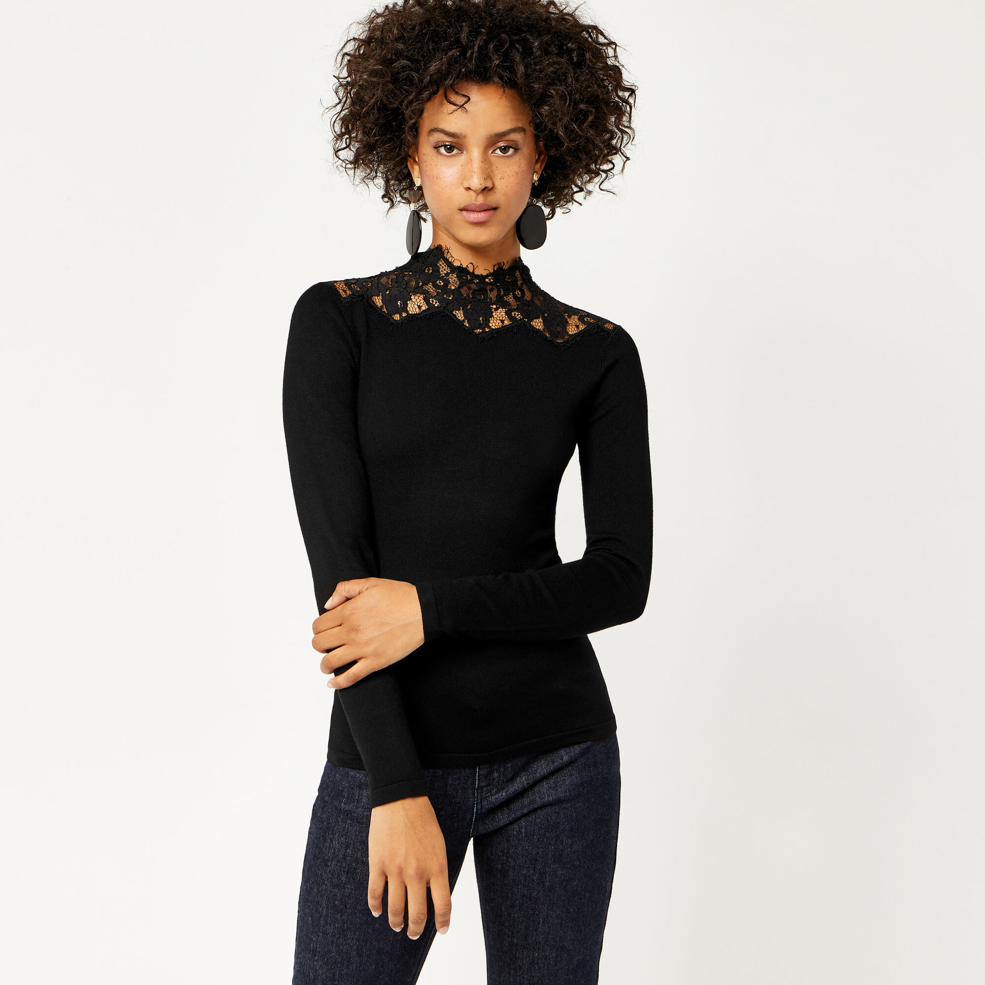 Warehouse, LACE HIGH NECK JUMPER Black 1