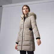 Warehouse, Side Tab Detail Padded Coat Mink 1