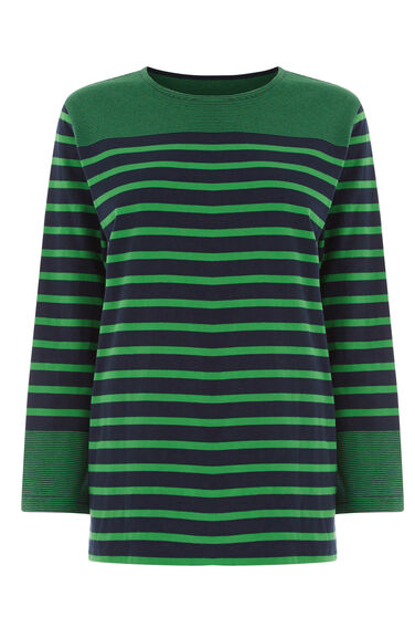 Warehouse, ENGINEERED STRIPE TOP Green Stripe 0