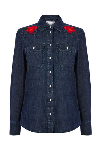 Warehouse, EMBROIDERED SHIRT Dark Wash Denim 0