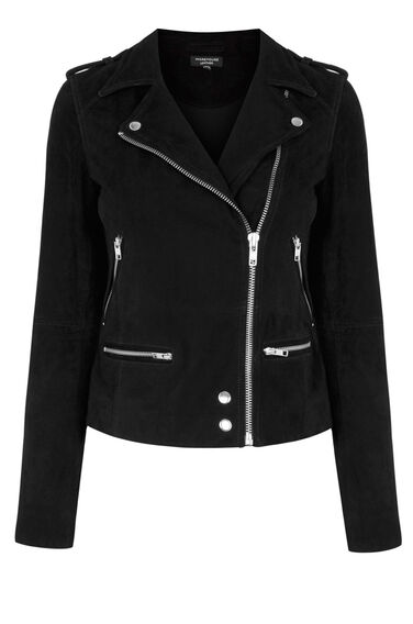 Warehouse, Suede Biker Jacket Black 0